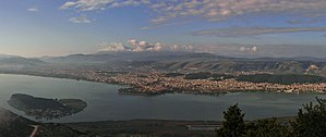 View of Lake Pamvotis and the city of Ioannina.