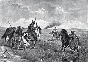 Wild Fields - Alert of the Russian steppe border guards in the 16th century (a 19th-century illustration)