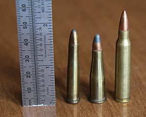 .22 Remington Jet - .22 Remington Jet (center) with .22 Hornet (left) and .223 Rem (right).