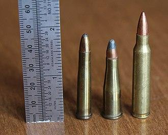 .22 Remington Jet - .22 Remington Jet (center) with .22 Hornet (left) and .223 Rem (right).