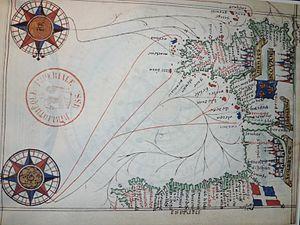 Karte der Biskaya von Guillaume Brouscon (1548)