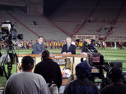 Chris Fowler, Lee Corso und Kirk Herbstreit im Memorial Stadium in Lincoln, September 2007