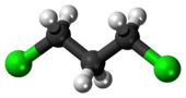 Ball-and-stick model of the 1,3-dichloropropane molecule