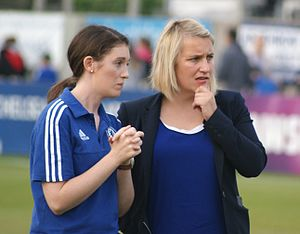 Emma Hayes - Hayes (right) as a coach of Chelsea Ladies in 2015.