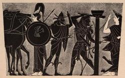 Héracles, empunhando seu tacape, arrasta Cérbero para fora do Hades. À direita, Perséfone, e à esquerda, Hermes e Atena.