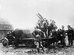 QF 13-pounder 6 cwt AA gun - On Mk II mounting on Thornycroft Type J lorry, Armentières March 1916