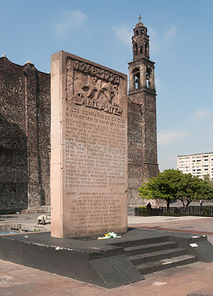 Tlatelolco massacre - Memorial stele dedicated to the massacre victims at Tlatelolco.