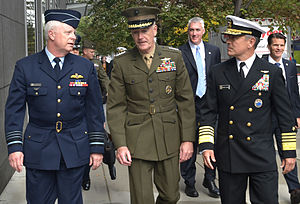 Service dress - Senior officers wearing the service dress of the Royal Australian Air Force, US Marine Corps and US Navy.