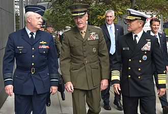 Service dress uniform - Senior officers wearing the service dress of the Royal Australian Air Force, US Marine Corps and US Navy.