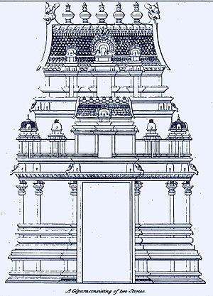 Gopuram - Image: 1834 sketch of elements in Hindu temple architecture, two storey gopura