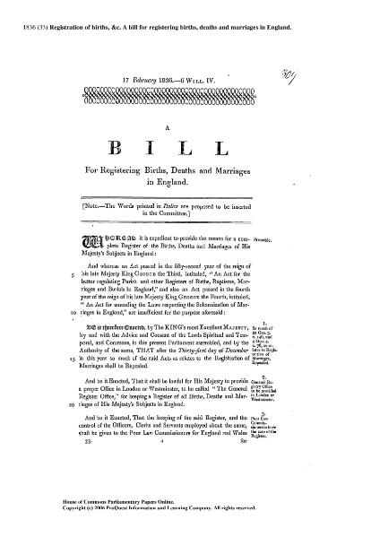 File:1836 (33) Registration of Births &c. A bill for registering Births Deaths and Marriages in England.djvu