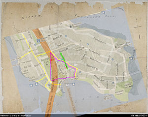 James Milson - MAP 2: Modern map of Kirribilli Point superimposed on top of 1840s map of the same area (superimposed on top of Map 2). Distortion in original 1840s map can be clearly seen. Marked on the map in green is the location of today' s Jeffrey Street; in yellow are the streets in the area of James Milson's Orchard on the 1840s map; in red (upper) is the location on the 1840s map of the large building shown near the milking bails; in red (lower) is the location on the 1840s map of the worker's cottage built within James Milson's orchard which can be seen to be located on modern day Jeffrey Street; in pink is the location on the 1840s map of the boundary of James Milson's orchard; and in pale blue is the approximate location of heritage listed Bratton.