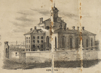 "Charles Street Jail - Boston, 1852. Detail from: Henry McIntyre's ""Map of the City of Boston and Immediate Neighborhood."""