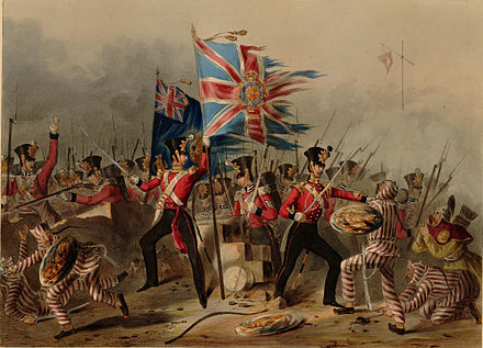 The regiment in the Battle of Amoy in China, 26 August 1841 18th Royal Irish at Amoy.jpg