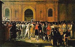 19 de abril de 1810, primer grito de independencia en América. La imagen corresponde a la representación de la histórica fecha realizada por Juan Lovera.