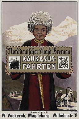 1911 circa Ivo Puhonny Plakat Norddeutscher Lloyd, Kaukasus Fahrten, Kunstdruckerei Künstlerbund Karlsruhe