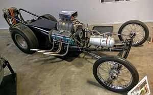 Drag racing - An early example, a 1958 Fuel dragster (technically, a rail), on display at the California Automobile Museum