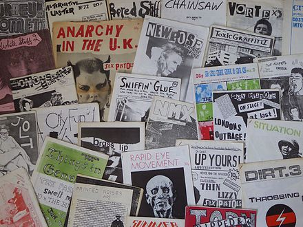 British punk fanzines from the 1970s. 1970s fanzines (21224199545).jpg