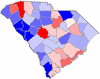 Red counties were won by Edwards and blue counties were won by Dorn