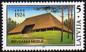 Latvian Ethnographic Open Air Museum - Latvian postage stamp issued 1994 to commemorate the 70th anniversary of the museum.