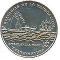 1 песо. Куба. 2000. Реликвии судостроения - Колесный пароход Buenaventura.jpg