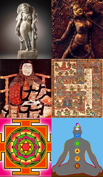 Tantra - Tantra art (top left, clockwise): A Hindu tantric deity, Buddhist tantric deity, Jain tantric painting, Kundalini chakras, a yantra and 11th century Saichō – founder of Tendai Tantra tradition