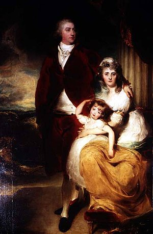 Henry Cecil, 1st Marquess of Exeter - The Marquess of Exeter with his second wife, Sarah, and their daughter, Lady Sophia Cecil. By Thomas Lawrence.