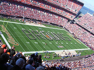 "Ohio State University Marching Band - An image of the 2008 Ohio State marching band spelling out ""Browns"" before the Browns 2008 season opener."
