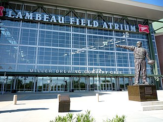 A statue of Curly Lambeau stands near the main entrance 2009-0620-WI010-GB-Lambeau.jpg