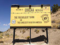 """2014-09-09 13 06 05 """"Welcome to Eureka Nevada - The Friendliest Town on the Loneliest Road in America"""" along westbound U.S. Route 50 in Eureka, Nevada.JPG"""