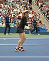 2019 USTA exhibition Tracy Austin warming up.jpg