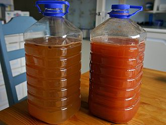 Sima (mead) - Two varieties of sima: original (left) and rhubarb (right).