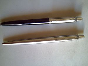 Jotter - Polymer barreled and a stainless steel barreled Parker Jotter ballpoint pen