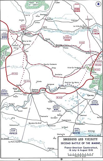 Battle of Belleau Wood - Map showing location of the battle of Belleau Wood (U.S. Military Academy)
