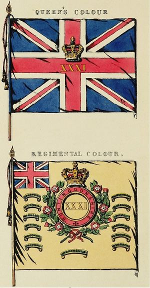 31st (Huntingdonshire) Regiment of Foot - Colours of the 31st (Huntingdonshire) Regiment of Foot