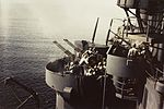 40mm and 20 mm guns firing on USS Biloxi (CL-80) in October 1943.jpg