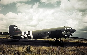 RAF Fulbeck - Douglas C-47A-15-DK Skytrain Serial 42-92879 of the 303d TCS/442d TCG at Fulbeck in Normandy invasion markings.