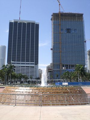 Bayfront Park - The large fountain on Biscayne Bay is a landmark in the park.