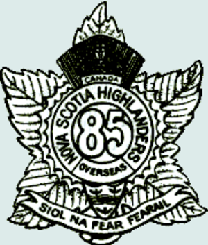 85th Battalion (Nova Scotia Highlanders), CEF - 85th Battalion emblem, worn as a head dress cap badge