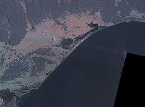 Ninety Mile Beach, Victoria - False colour NASA landsat image of Ninety Mile Beach and the Gippsland Lakes