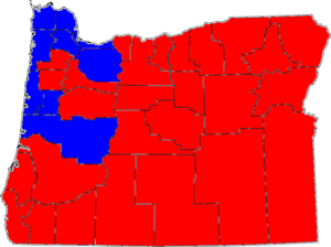 United States Senate special election in Oregon, 1996 - Image: 96ORSen Special Election Counties