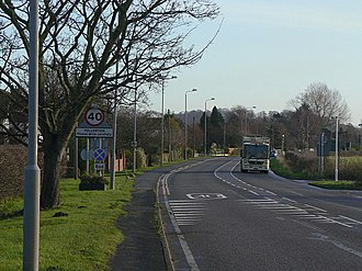 A606 road - Entering Tollerton from the low bridge