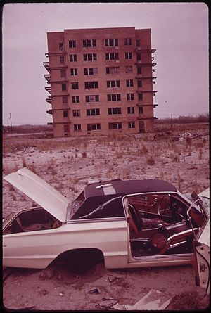 Breezy Point, Queens - Apartment house abandoned during construction, 1973.  Photo by Arthur Tress.