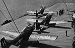 AD-6 Skyraiders of VA-155 are launched from USS Yorktown (CVA-10), circa in 1954.jpg