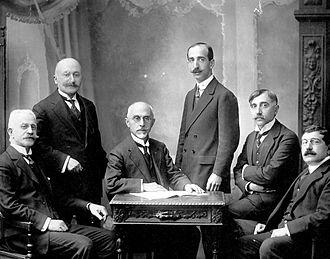 Armenian General Benevolent Union - The AGBU's first European branch, founded in Manchester in 1909. From left to right: Sarkis Kuyumjian, S. Shnorhavorian, Mihran Manukian (president), M. Bakrjian, K. Funduklian, D. Iplikjian.