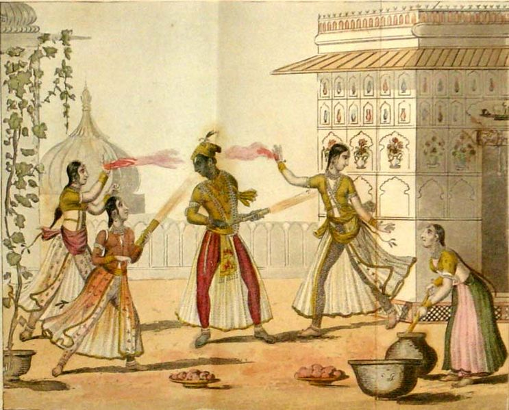 Krishna and Radha celebrating Holi