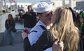 A U.S. Sailor assigned to the guided missile frigate USS McClusky (FFG 41) gets one last kiss from his loved ones before leaving San Diego to participate in Operation Martillo April 10, 2014 140410-N-ZK869-034.jpg