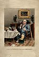 A gouty man savouring his feast. Coloured aquatint by G. Hun Wellcome V0010855.jpg