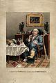 A gouty man savouring his feast. Coloured aquatint by G. Hun Wellcome V0010855.jpg