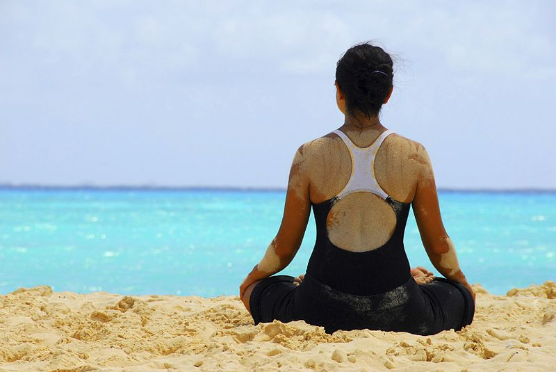 File:A meditation yoga on a beach.jpg